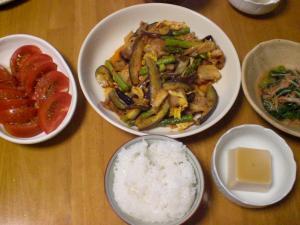 豚バラ・茄子のキムチ炒め