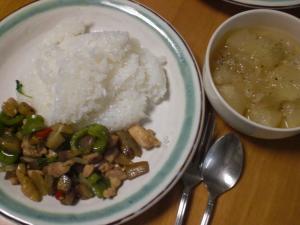 鶏とナスのバジル炒めのせゴハン