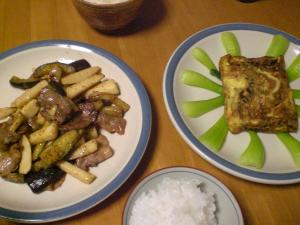 豚バラ・茄子・山芋の炒め物