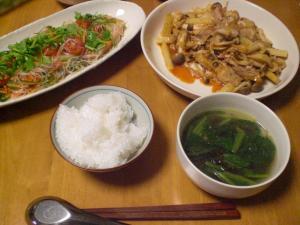 豚バラ・シメジ・長芋のキムチ炒め