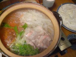 豚バラ肉と根菜の鍋