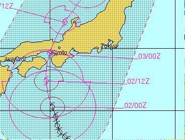 米軍 台風12号予想進路 2011年<br /><br />9月2日9時(日本時間)