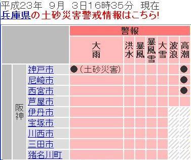 兵庫県の気象警報 2011年9月3日16時35分