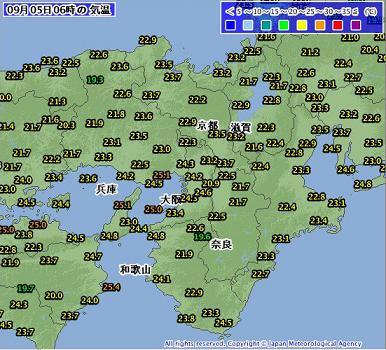 気温 2011年9月5日6時