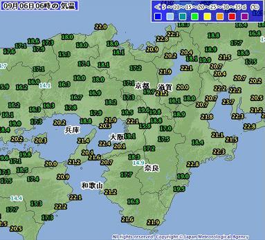 気温 2011年9月6日6時
