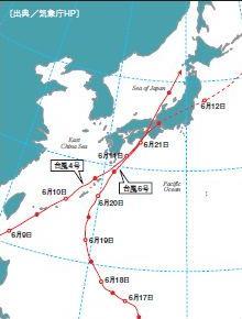 2004年6月の台風経路