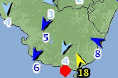 風向 2012年6月19日17時 和歌山県南部