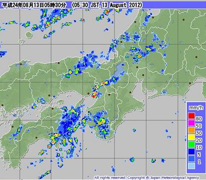 気象レーダー 201208130530-00