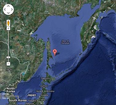 オホーツク海南部深発地震 震源 2012年8月14日