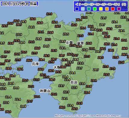 気温 2012年8月18日 0時