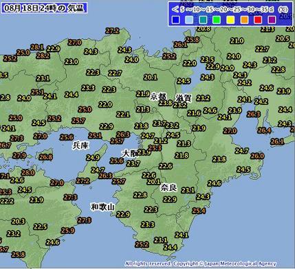 気温 2012年8月19日 0時