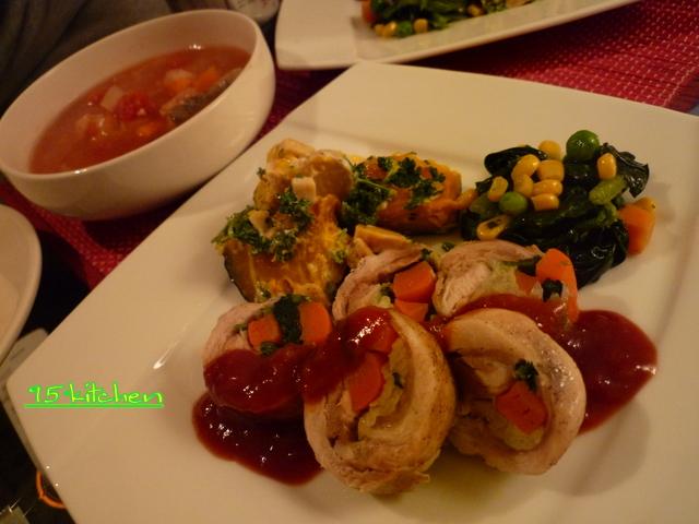 鳥肉野菜巻き。