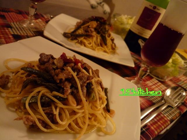 タラの芽と牛肉のペペロンチーノ。