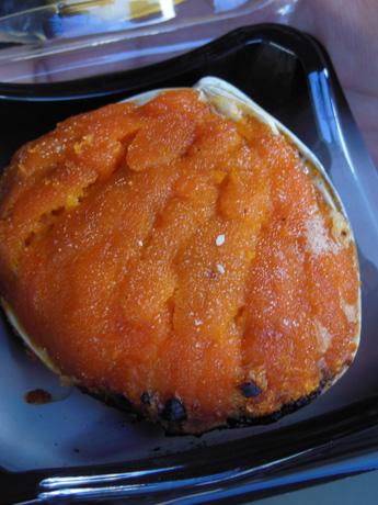 ウニの貝殻焼き