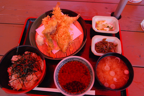 さざえ飯と海老天ぷら定食