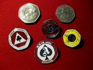 50P shape badges and coins