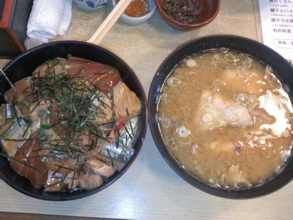 海鮮づけ丼&アラ汁