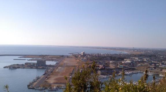 飯岡市街を見下ろす