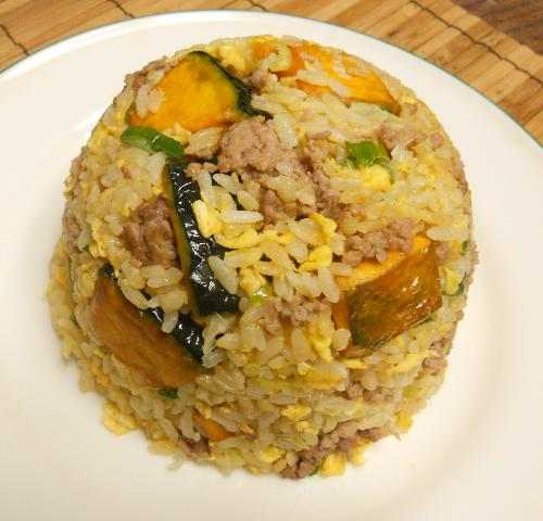 カボチャと豚ひき肉のチャーハン14