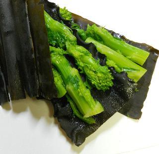 菜の花とタイの昆布締め棒寿司5