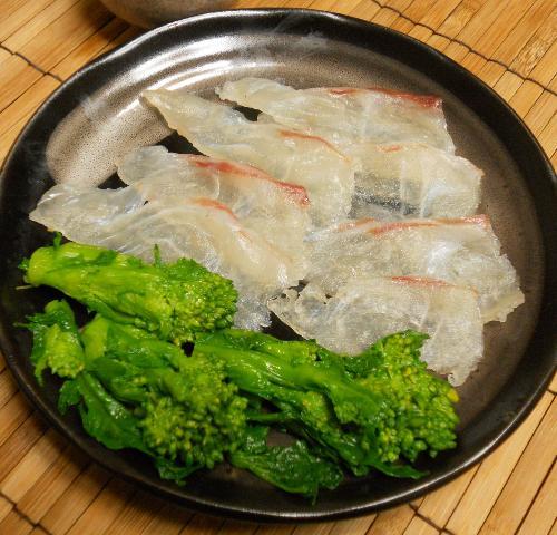 菜の花とタイの昆布締め棒寿司11