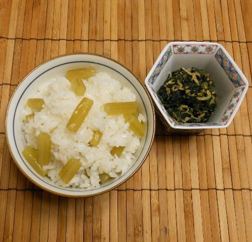 ほろにが蕗ご飯&蕗の葉とじゃこの炒め煮10