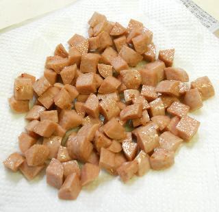 魚肉ソーセージチャーハン3