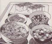 蜆肉飯と味噌漬け豆腐図
