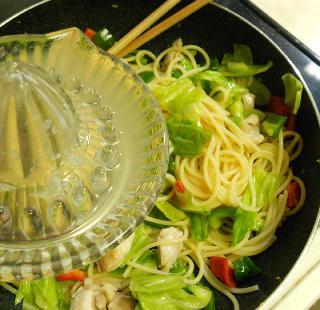 鶏と野菜のお月見スパゲティ5