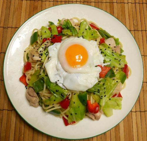 鶏と野菜のお月見スパゲティ9