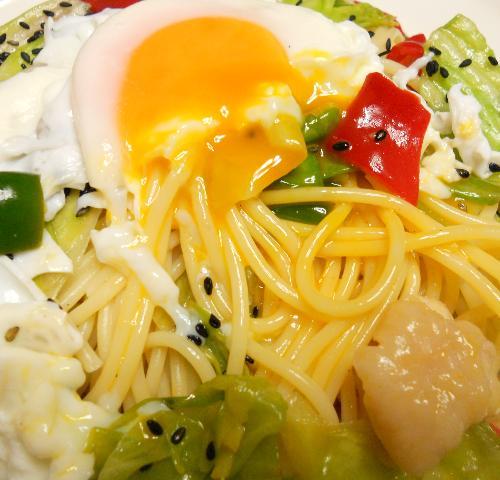 鶏と野菜のお月見スパゲティ11