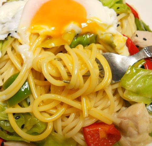 鶏と野菜のお月見スパゲティ12