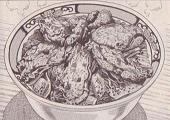 カキの唐揚げキムチ丼図
