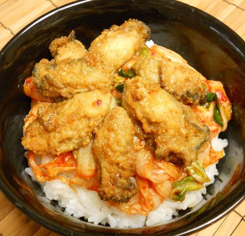 カキの唐揚げキムチ丼7