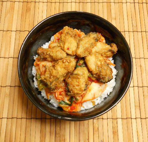 カキの唐揚げキムチ丼6