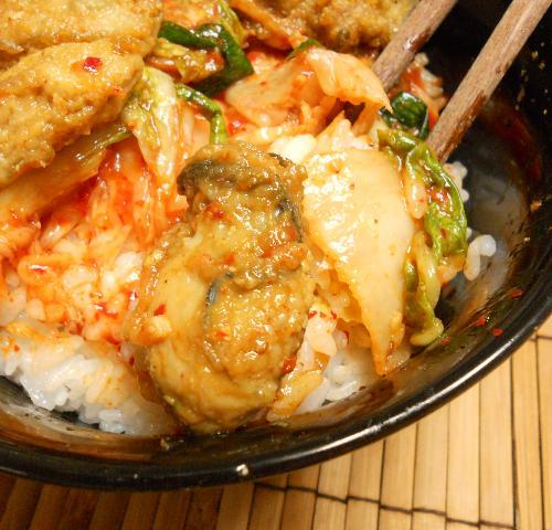 カキの唐揚げキムチ丼8