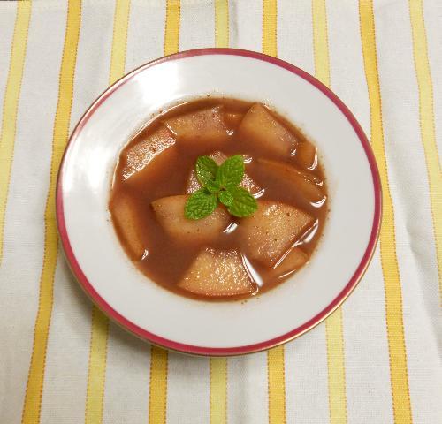 薄切りりんごのチョコワイン鍋6