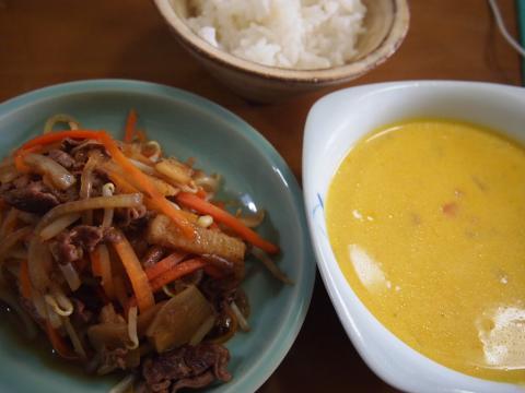 牛丼風肉野菜炒めとカボチャスープ