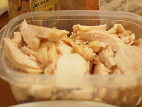 チキンスープでボイルした鶏胸肉