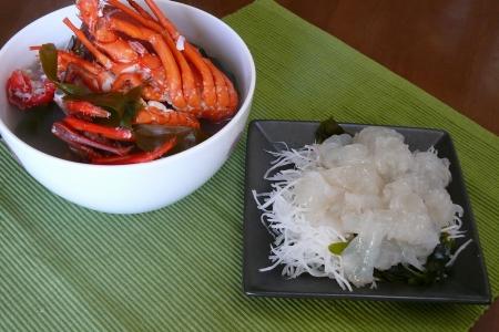 伊勢海老のお刺身と味噌汁