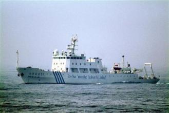 507 海上保安庁の測量船を追跡してきた中国の海洋調査船=3日午後3時ごろ、奄美大島の北西沖約320キロ(海上保安庁提供)
