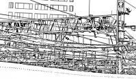 漫画背景・新宿005の電線