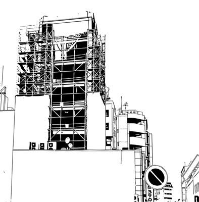 漫画背景・池袋001部分黒