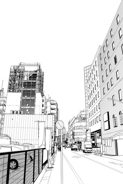 漫画背景・池袋001線画