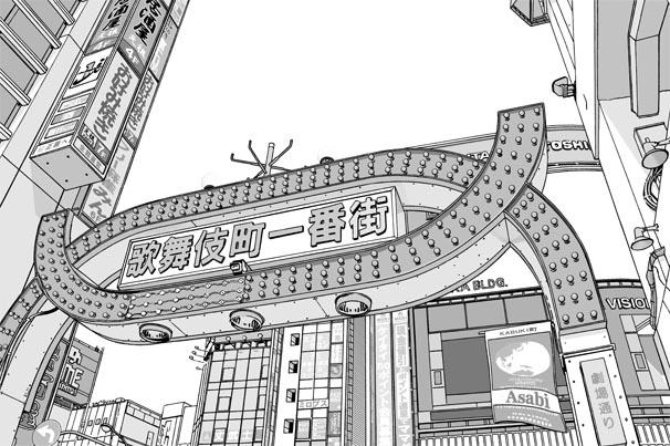 漫画背景・新宿歌舞伎町001