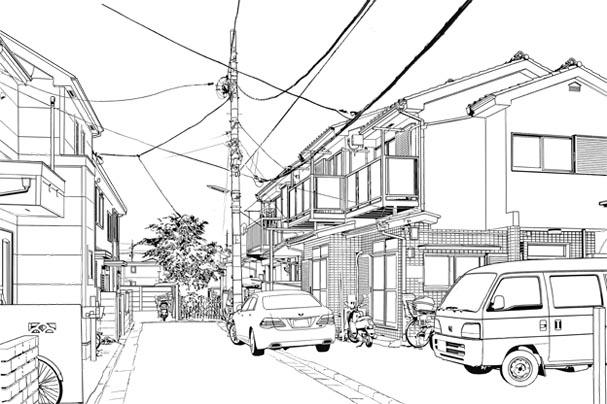 漫画背景・住宅003