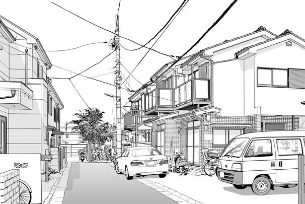 漫画・背景・住宅003トーン