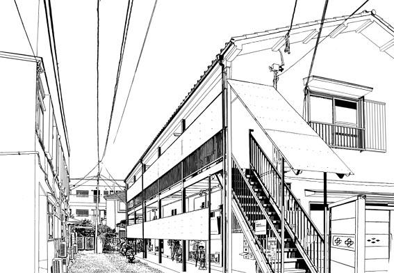 漫画背景・アパート003・線画