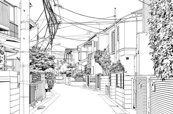 漫画・背景・住宅006線画