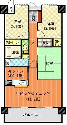 アルファステイツ木太5番館502間取り図